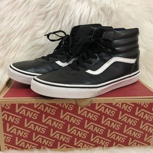 Vans Ward Hi Black & White Leather High Tops